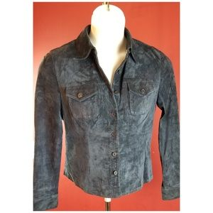 Will Smith Nany Suade Leather Button front Shirt S